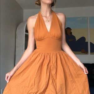 90's Burnt Orange Halter Dress